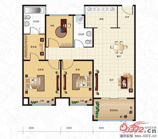 户型结构:3室2厅2卫1阳台-小编推荐 布局紧凑实用三室高清图片